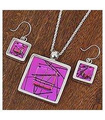 dichroic art glass jewelry set, 'magenta window' (mexico)
