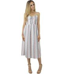vestido liage midi listrado alcinha decote coraçáo listra fina alça regulável off-white cinza verde rosa - tricae