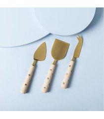 talher de servir queijo palu 3 pçs cor: bege - tamanho: único