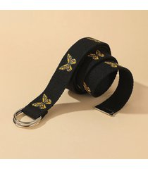 canvas butterfly print dual d-ring buckle casual belt
