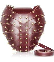 una burke designer handbags, merlot leather heart bag