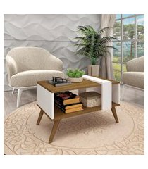 mesa de centro retrô fellicci móveis nogal e branco