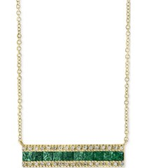 "brasilica by effy emerald (1 ct. t.w.) & diamond (1/8 ct. t.w.) bar 18"" pendant necklace in 14k gold"