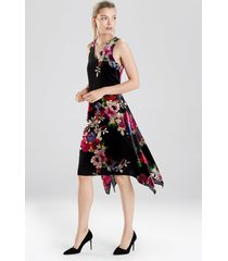 natori winter peony velvet dress, women's, black, size 6 natori