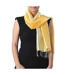 rayon and silk blend scarf, 'shimmering daffodil' (thailand)