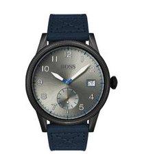 relógio hugo boss masculino couro azul - 1513684