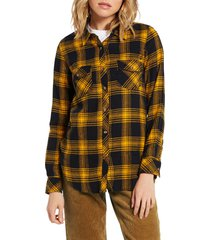 plus size women's volcom getting rad plaid top, size small - yellow