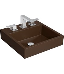 cuba de sobrepor quadrada com mesa marrom fosco 36x41,5cm l735 - deca - deca