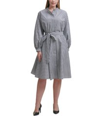 calvin klein plus size cotton striped belted dress