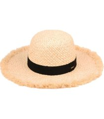 angela & william raffia straw raw edge floppy hat