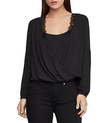 lace-trimmed faux wrap top