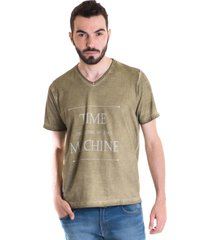 camiseta konciny manga curta estonada 33009 verde musgo