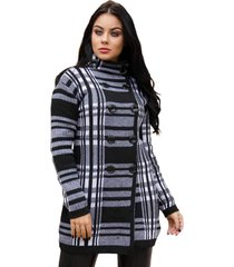 casaco feminino sobretudo com botões tricot livora preto e branco