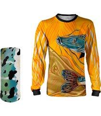 camisa + máscara pesca quisty pintado moleque amarelo proteção uv dryfit infantil/adulto - camiseta de pesca quisty