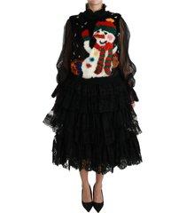 snowman lace gelaagde tulle midi jurk