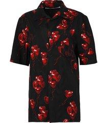 heart print hawaiian short-sleeve shirt, black and red