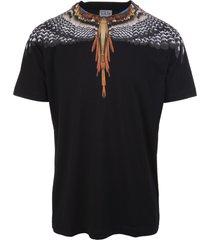marcelo burlon man black and orange grizzly wings t-shirt