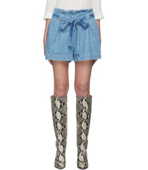 'hillary' belted paperbag denim shorts