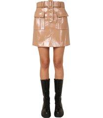 self-portrait painted faux leather mini skirt
