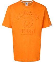 aape by *a bathing ape® embossed short sleeved t-shirt - orange