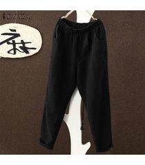 s-5xl zanzea pantalones de harén para mujer piernas anchas pantalones casuales de gran tamaño tallas grandes -negro