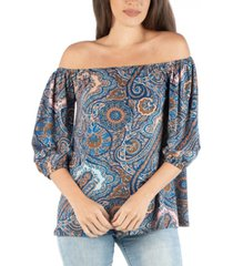 24seven comfort apparel off shoulder top with paisley design and elastic sleeve