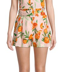 carlo orange print linen shorts