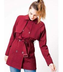 jaquetas & casacos khelf trench coat sarjado vinho - vinho - feminino - dafiti