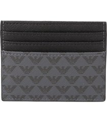 emporio armani black and grey card holder with all over monogram print