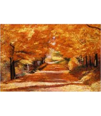 "david lloyd glover the yellow leaf road canvas art - 37"" x 49"""