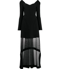 alexander mcqueen sheer panel long-sleeve dress - black