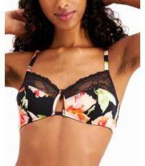 inc women's printed lace-trim bralette, created for macy's