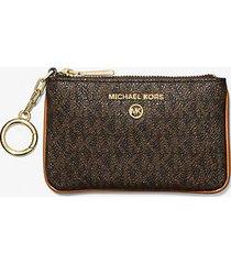 mk porta carte di credito extra-small con logo e portachiavi - marrone - michael kors