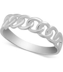 essentials linked ring in fine silver-plate