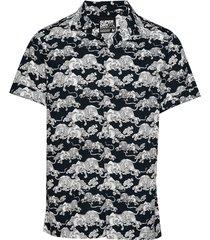 hawaiian box s/s shirt kortärmad skjorta blå superdry