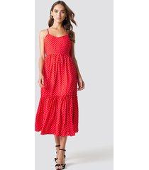 trendyol shoulder strap midi dress - red
