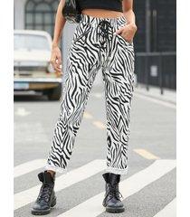yoins zebra bolsillos laterales con cordón en la cintura pantalones