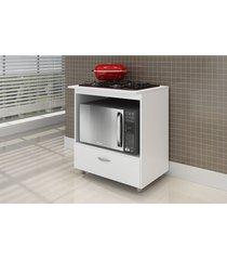 balcão p/ cooktop 4 bocas e microondas branco completa móveis