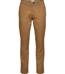 slhstraight-newparis flex pants w noos chinos byxor brun selected homme