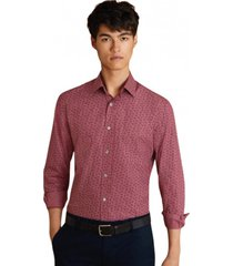 camisa berry-print poplin morado brooks brothers