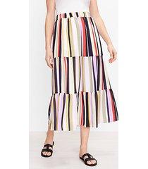 loft petite striped tiered pocket maxi skirt