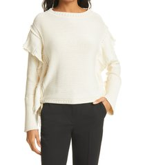 women's rebecca taylor tie sleeve cotton sweater, size large - ivory