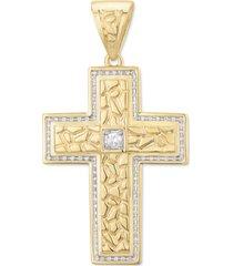 diamond textured cross pendant (1/2 ct. t.w.) in 10k gold