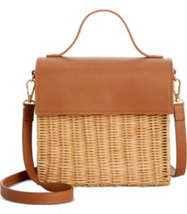 alfani rattan top handle satchel, created for macy's