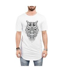 camiseta criativa urbana long line oversized coruja tribal tattoo corpo inteiro
