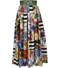 dolce & gabbana long patchwork poplin skirt