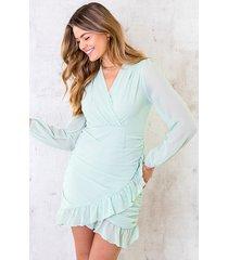 chiffon overslag jurk mint