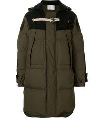 sacai toggle fastening detail hooded coat - 501 khaki