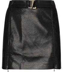 misbhv belted vegan leather mini skirt - black
