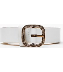 womens drop me a textured slim band belt - white
